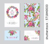 elegant cards with decorative... | Shutterstock .eps vector #571840033