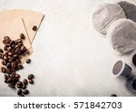 background with assorted coffee ... | Shutterstock . vector #571842703