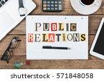public relations in newspaper...   Shutterstock . vector #571848058