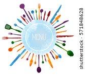 hand draw kitchen utensils... | Shutterstock .eps vector #571848628