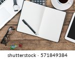office desk with electronic... | Shutterstock . vector #571849384