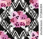 elegant seamless pattern with... | Shutterstock .eps vector #571866304
