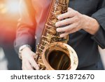 Small photo of International jazz day and World Jazz festival. Saxophone, music instrument played by saxophonist player musician in fest.