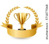 realistic golden trophy with... | Shutterstock .eps vector #571877068