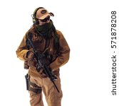 Small photo of portrait of a man military outfit a mercenary soldier in modern times on a white background in studio