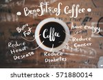 benefits of coffee chart with... | Shutterstock . vector #571880014