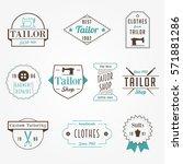 vintage tailor sewer badge... | Shutterstock .eps vector #571881286