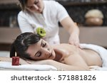 leisure. woman in spa salon | Shutterstock . vector #571881826