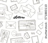 letters and envelopes pattern... | Shutterstock .eps vector #571883110