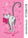 valentine's day card cute cat...   Shutterstock . vector #571886158