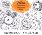 indian cuisine top view frame.... | Shutterstock .eps vector #571887568