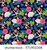 colorful caribbean tropical... | Shutterstock .eps vector #571902208