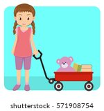 young little girl playing with...   Shutterstock .eps vector #571908754