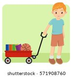 young happy little boy playing... | Shutterstock .eps vector #571908760
