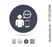 byod sign icon. bring your own... | Shutterstock .eps vector #571913548
