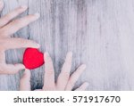 close up womenand the red heart ... | Shutterstock . vector #571917670