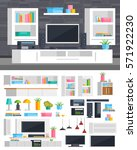 a set of furniture for the... | Shutterstock .eps vector #571922230