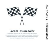 checkered flags icon. crossed... | Shutterstock .eps vector #571928749