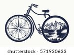 bicycle tattoo art. symbol of... | Shutterstock .eps vector #571930633