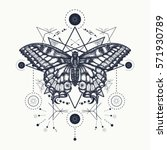 butterfly tattoo geometrical... | Shutterstock .eps vector #571930789