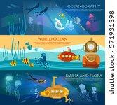 oceanography. sea exploration... | Shutterstock .eps vector #571931398