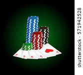 casino  poker cards and chips.... | Shutterstock .eps vector #571942528