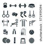 weightlifting flat  icons set.... | Shutterstock . vector #571959394