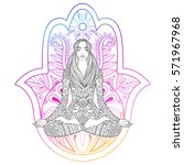 woman sitting in lotus position ... | Shutterstock .eps vector #571967968