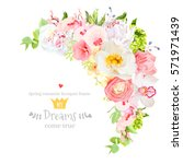 happy bright floral vector...   Shutterstock .eps vector #571971439