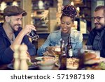 people enjoy food drinks party... | Shutterstock . vector #571987198