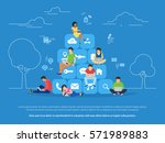 young men and women sitting on... | Shutterstock .eps vector #571989883