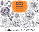 indian cuisine top view frame.... | Shutterstock .eps vector #571990276