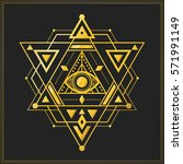sacred geometry symbol with... | Shutterstock .eps vector #571991149
