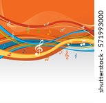 music notes on a abstract... | Shutterstock .eps vector #571993000