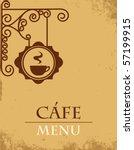 ancient street signboard coffee ... | Shutterstock .eps vector #57199915