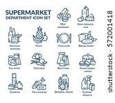 supermarket department icon set ... | Shutterstock .eps vector #572001418