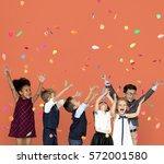 children smiling happiness... | Shutterstock . vector #572001580