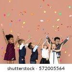 children smiling happiness... | Shutterstock . vector #572005564