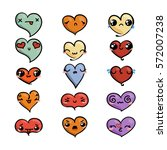 set of cute lovely emoticons.... | Shutterstock .eps vector #572007238