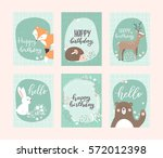 vector birthday greeting cards... | Shutterstock .eps vector #572012398