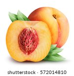 Peaches Isolated On White...