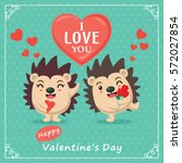 vintage valentines day poster... | Shutterstock .eps vector #572027854