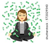 businesswoman doing yoga... | Shutterstock .eps vector #572029540