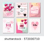 set of valentine's day card set ... | Shutterstock .eps vector #572030710