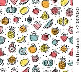 food background. doodle fruits... | Shutterstock .eps vector #572032030
