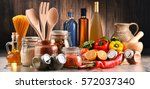 composition with assorted food... | Shutterstock . vector #572037340