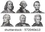 US presidents George Washington, Benjamin Franklin, Abraham Lincoln, Alexander Hamilton, Andrew Jackson, Ulysses Grant portraits from US dollar bills isolated, United States  money closeup