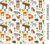 seamless pattern with cute... | Shutterstock .eps vector #572040820
