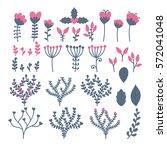 collection of flowers  berries  ... | Shutterstock .eps vector #572041048