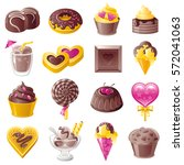 chocolate sweet dessert icons.... | Shutterstock .eps vector #572041063